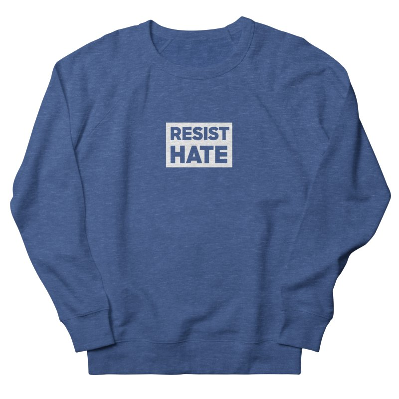 Resist Hate White Square Men's French Terry Sweatshirt by Resist Hate