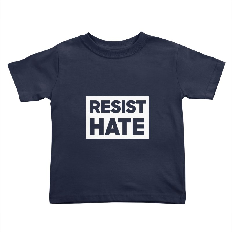 Resist Hate White Square Kids Toddler T-Shirt by Resist Hate
