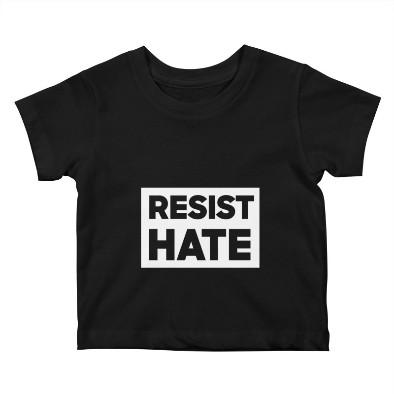 Resist Hate White Square Kids Baby T-Shirt by Resist Hate