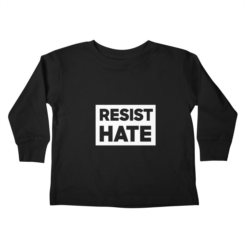 Resist Hate White Square Kids Toddler Longsleeve T-Shirt by Resist Hate