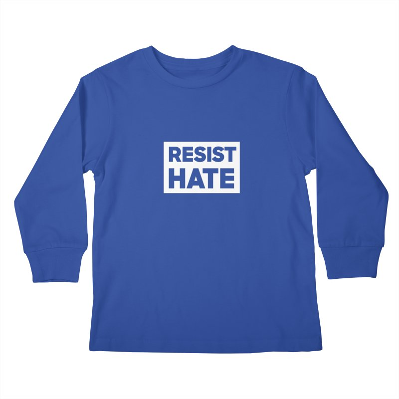 Resist Hate White Square Kids Longsleeve T-Shirt by Resist Hate