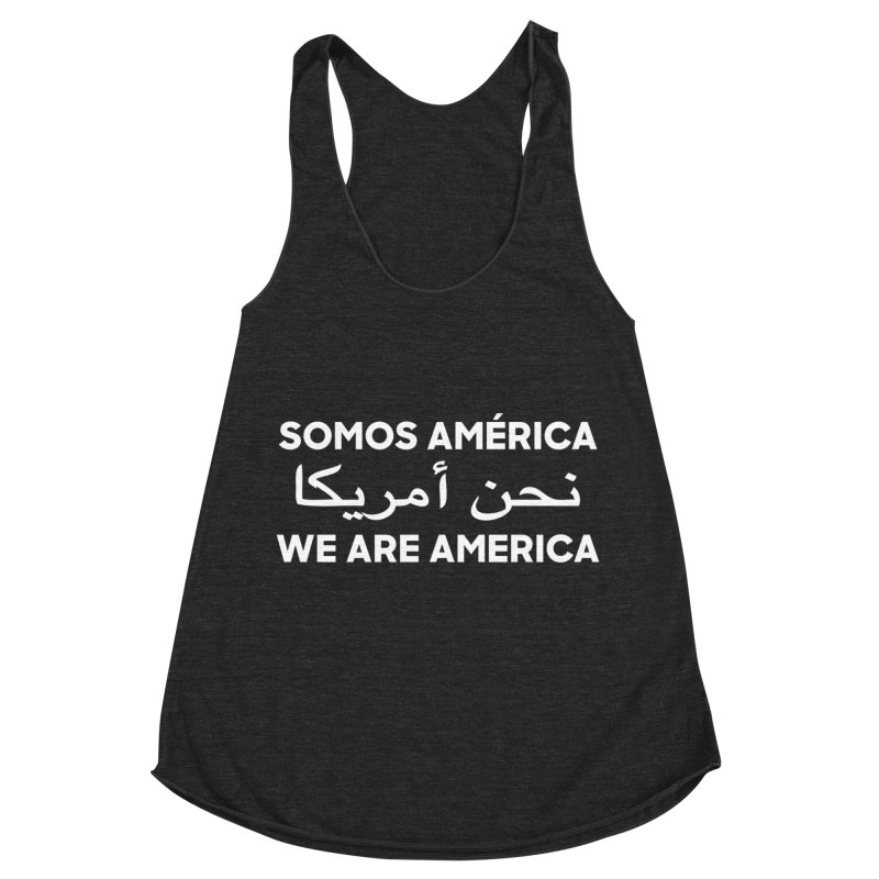 WE ARE AMERICA (white) Women's Racerback Triblend Tank by Resist Hate