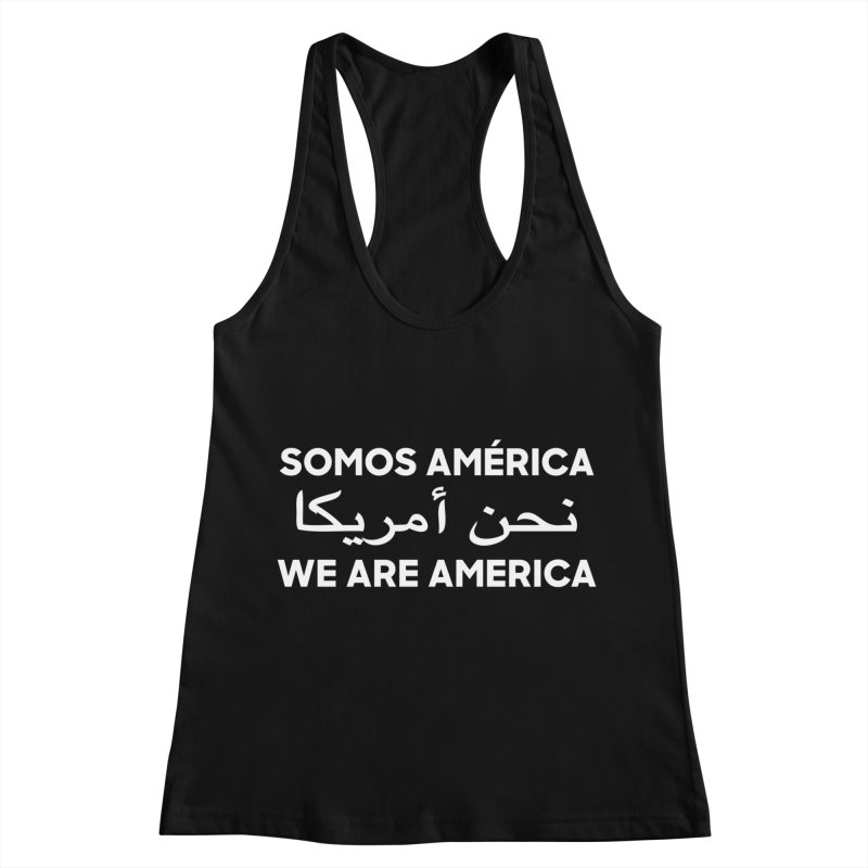 WE ARE AMERICA (white) Women's Racerback Tank by Resist Hate