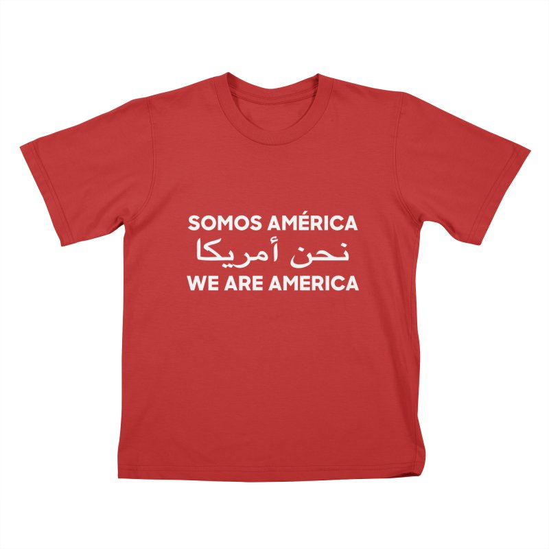WE ARE AMERICA (white) Kids T-Shirt by Resist Hate