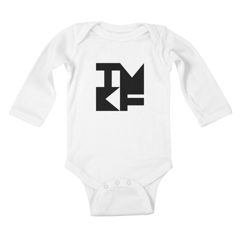 TMKF Block black (This Machine Kills Fascists) Kids Baby Longsleeve Bodysuit by Resist Hate