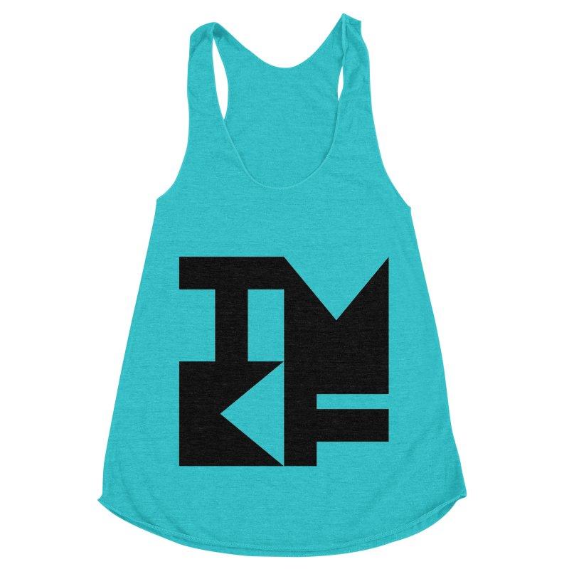 TMKF Block black (This Machine Kills Fascists) Women's Racerback Triblend Tank by Resist Hate