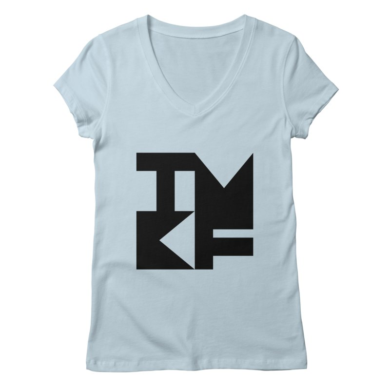 TMKF Block black (This Machine Kills Fascists) Women's Regular V-Neck by Resist Hate