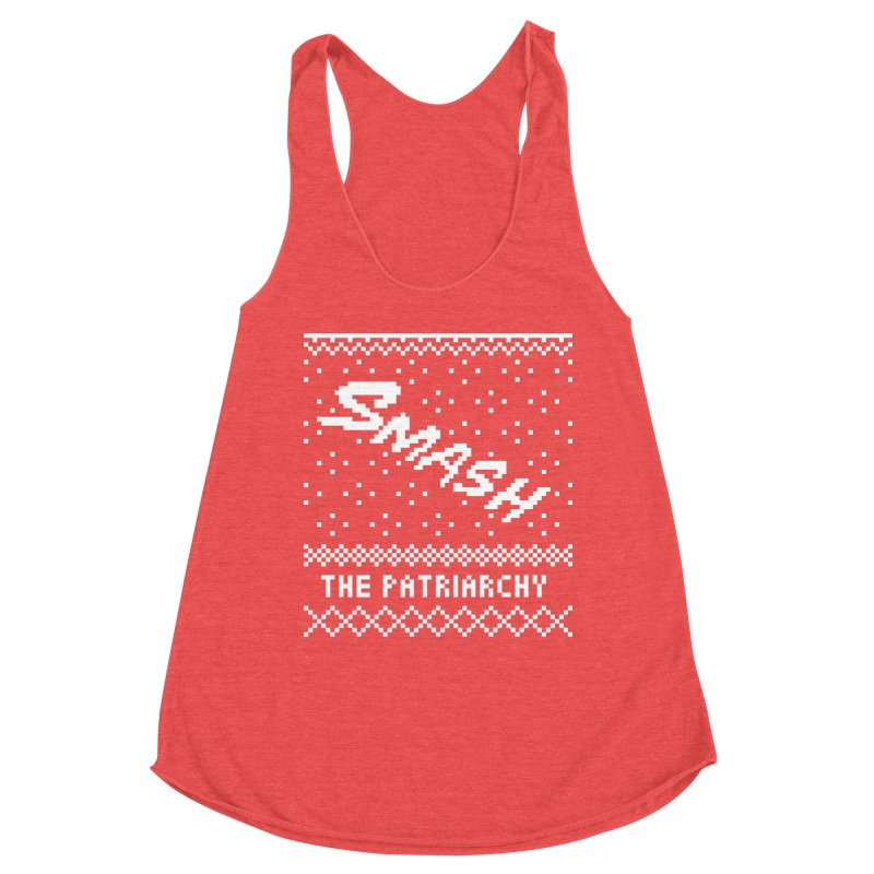 Smash The Patriarchy XMAS Women's Racerback Triblend Tank by Resist Hate