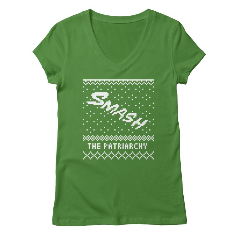 Smash The Patriarchy XMAS Women's Regular V-Neck by Resist Hate