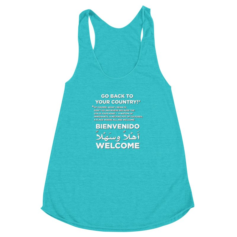 Welcome Home Women's Racerback Triblend Tank by Resistance Merch
