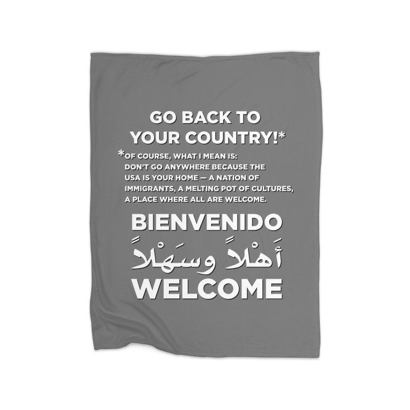 Welcome Home Home Fleece Blanket Blanket by Resistance Merch