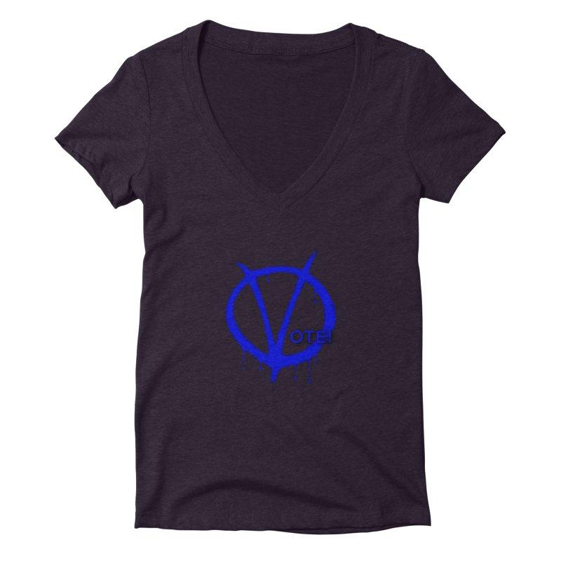 Vote Blue Women's Deep V-Neck V-Neck by Resistance Merch