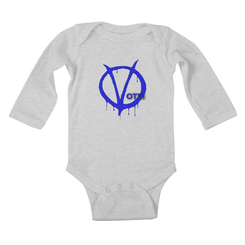 Vote Blue Kids Baby Longsleeve Bodysuit by Resistance Merch