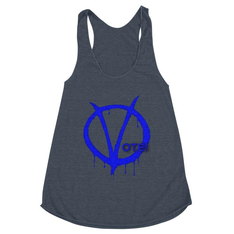 Vote Blue Women's Racerback Triblend Tank by Resistance Merch