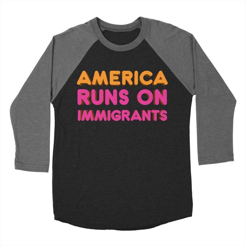 America Runs on Immigrants Women's Baseball Triblend Longsleeve T-Shirt by Resistance Merch