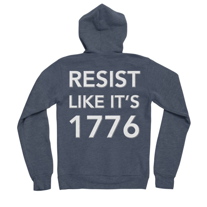 Resist Like it's 1776 — for dark backgrounds Men's Sponge Fleece Zip-Up Hoody by Resistance Merch