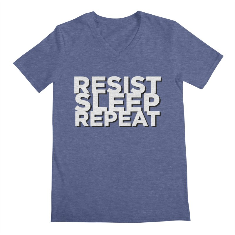 Resist Sleep Repeat Men's Regular V-Neck by Resistance Merch