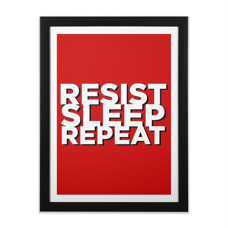 Resist Sleep Repeat Home Framed Fine Art Print by Resistance Merch