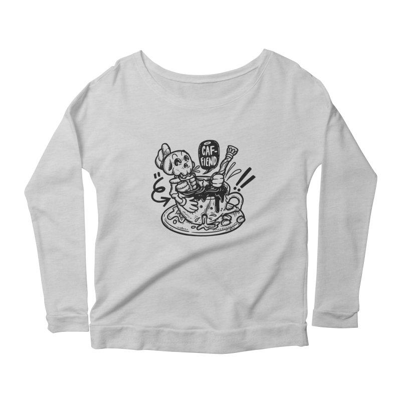 Caf Fiend Women's Scoop Neck Longsleeve T-Shirt by RevengeLover's Corner of the Web