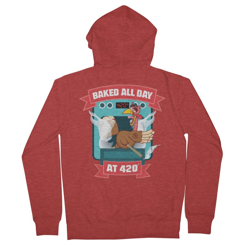 Turkey Leg in Women's French Terry Zip-Up Hoody Heather Red by RevolutionTradingCo