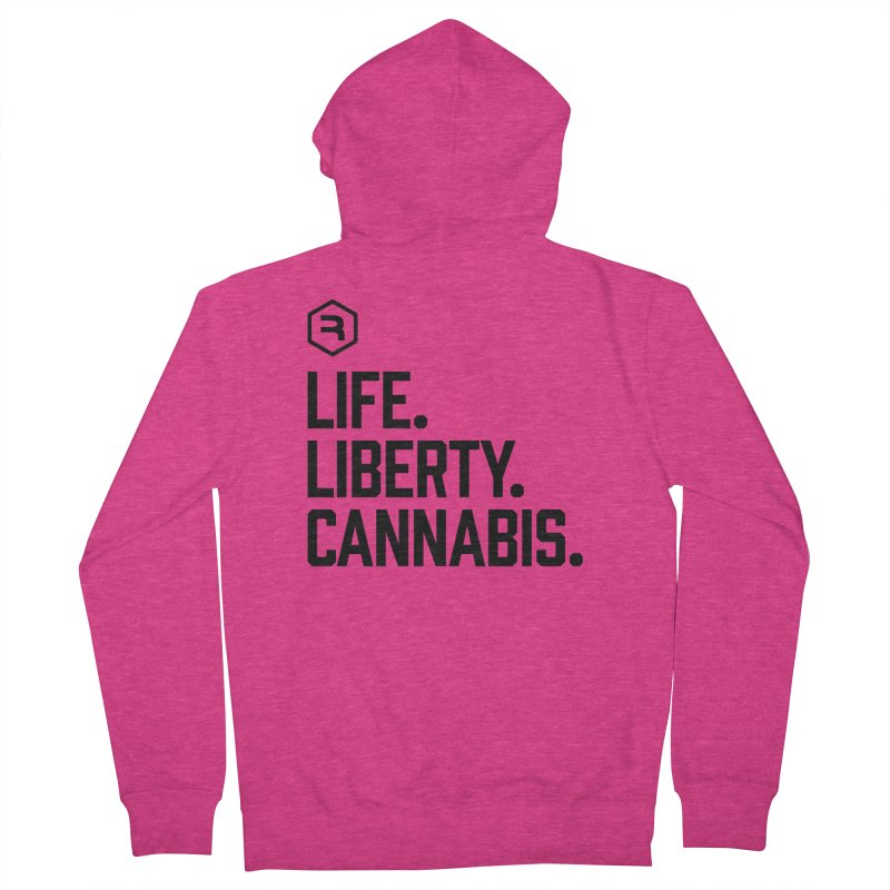 Life. Liberty. Cannabis. in Women's French Terry Zip-Up Hoody Heather Heliconia by RevolutionTradingCo