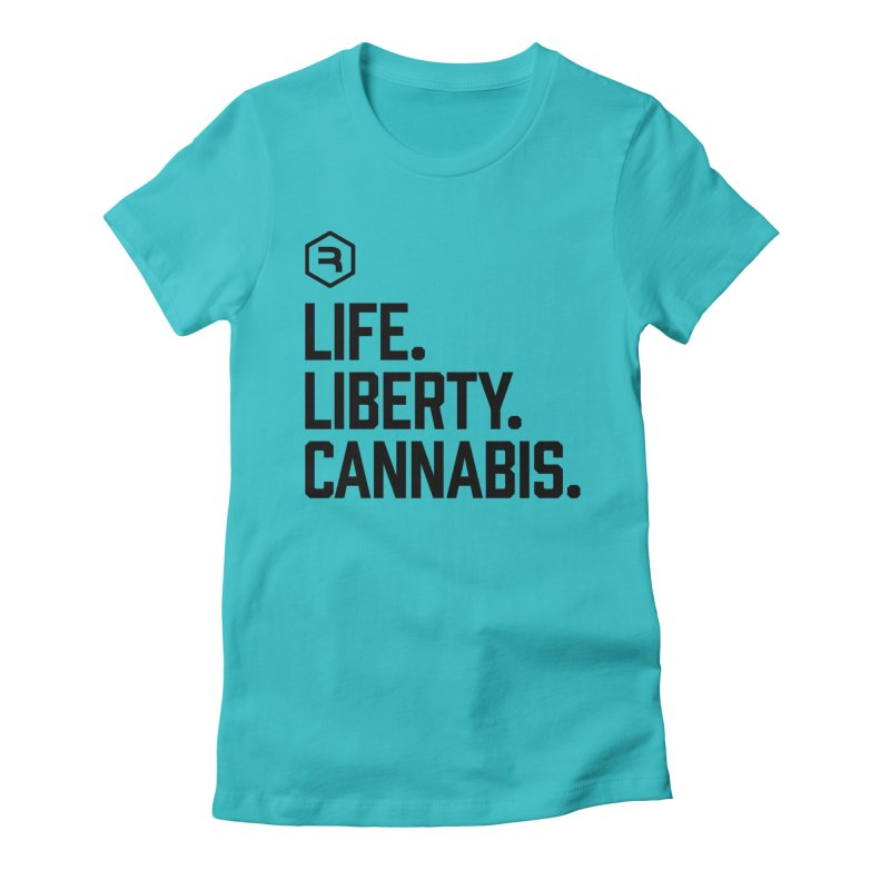 Life. Liberty. Cannabis. in Women's Fitted T-Shirt Pacific Blue by RevolutionTradingCo