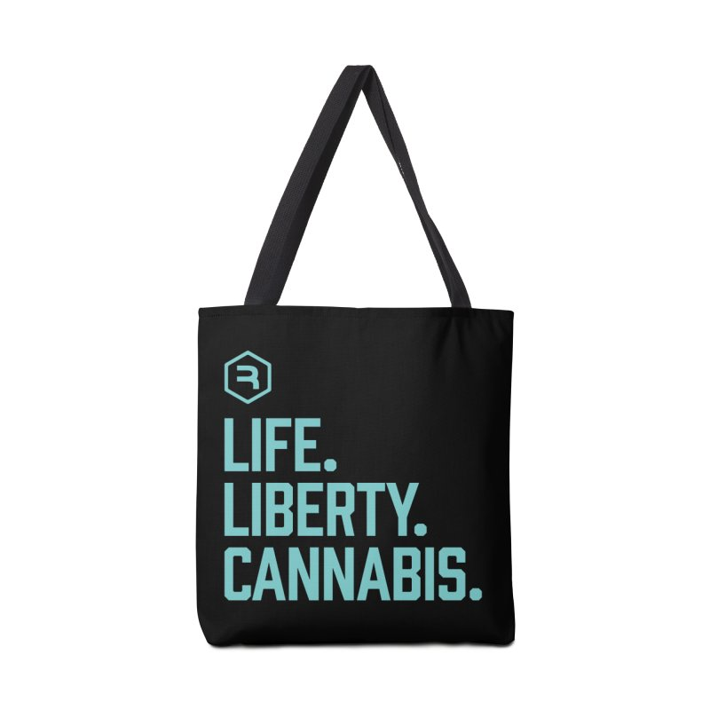 Life. Liberty. Cannabis. (Teal) Accessories Tote Bag Bag by RevolutionTradingCo