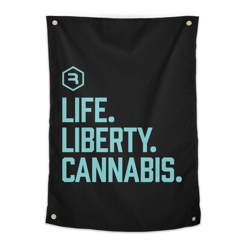 Life. Liberty. Cannabis. (Teal) in Tapestry by RevolutionTradingCo