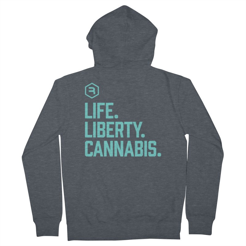 Life. Liberty. Cannabis. (Teal) Women's French Terry Zip-Up Hoody by RevolutionTradingCo