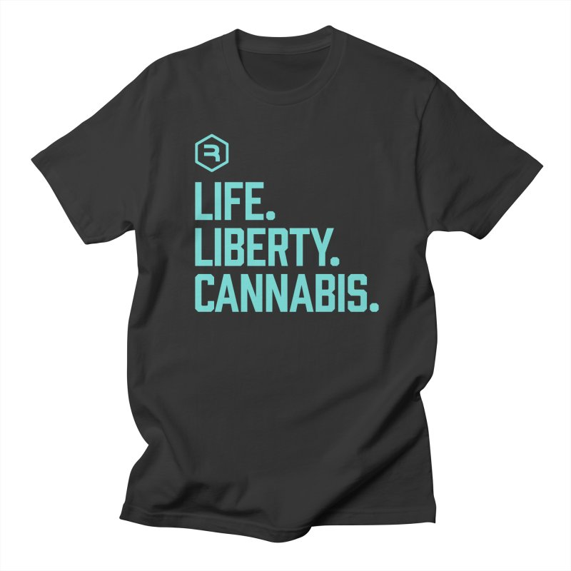 Life. Liberty. Cannabis. (Teal) in Men's Regular T-Shirt Smoke by RevolutionTradingCo