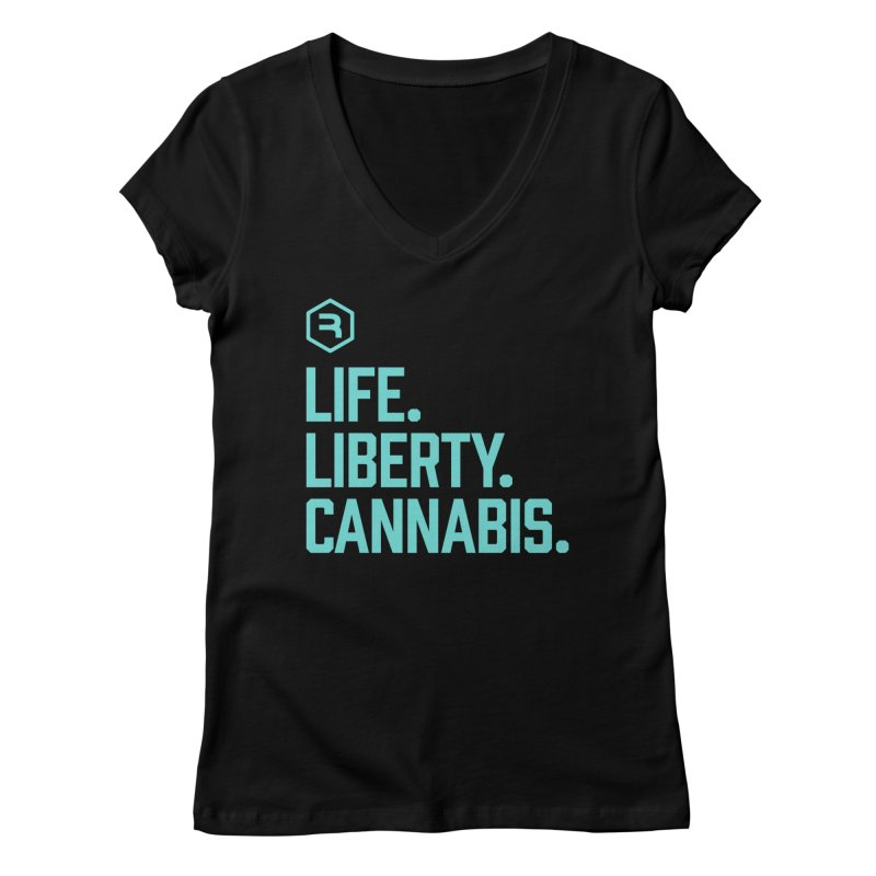 Life. Liberty. Cannabis. (Teal) in Women's Regular V-Neck Black by RevolutionTradingCo