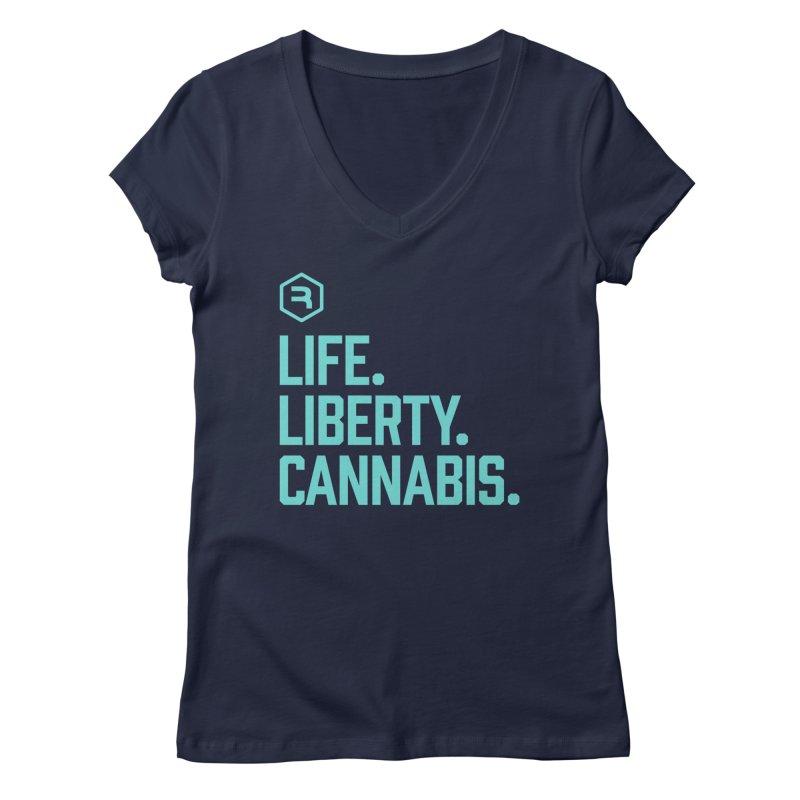 Life. Liberty. Cannabis. (Teal) Women's Regular V-Neck by RevolutionTradingCo
