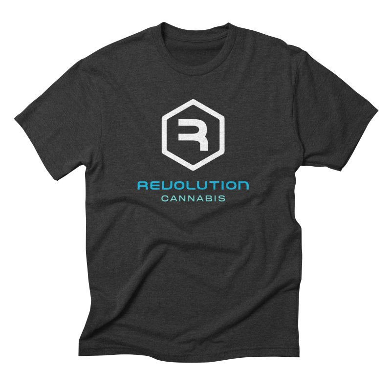 Revolution Cannabis Logo in Men's Triblend T-Shirt Heather Onyx by RevolutionTradingCo