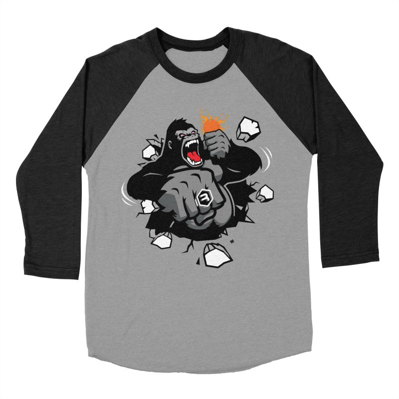 Gorilla Punch in Men's Baseball Triblend Longsleeve T-Shirt Heather Onyx Sleeves by RevolutionTradingCo
