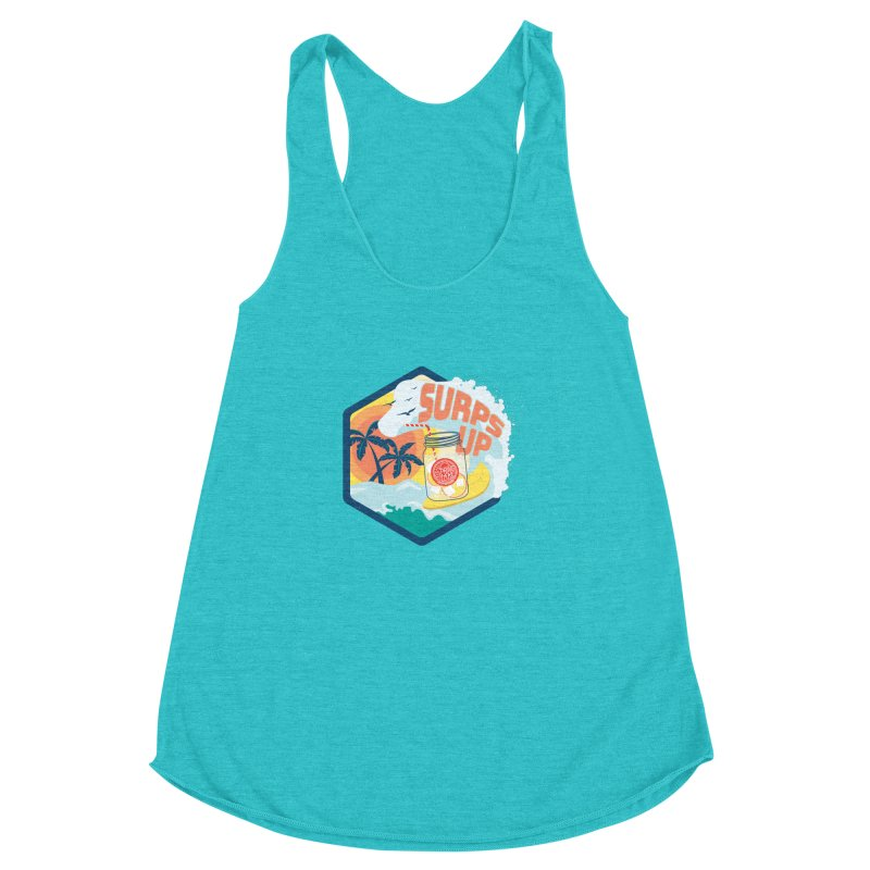 Surps Up in Women's Racerback Triblend Tank Pacific Blue by RevolutionTradingCo