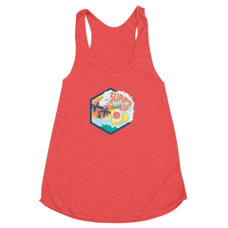 Surps Up in Women's Racerback Triblend Tank Chili Red by RevolutionTradingCo