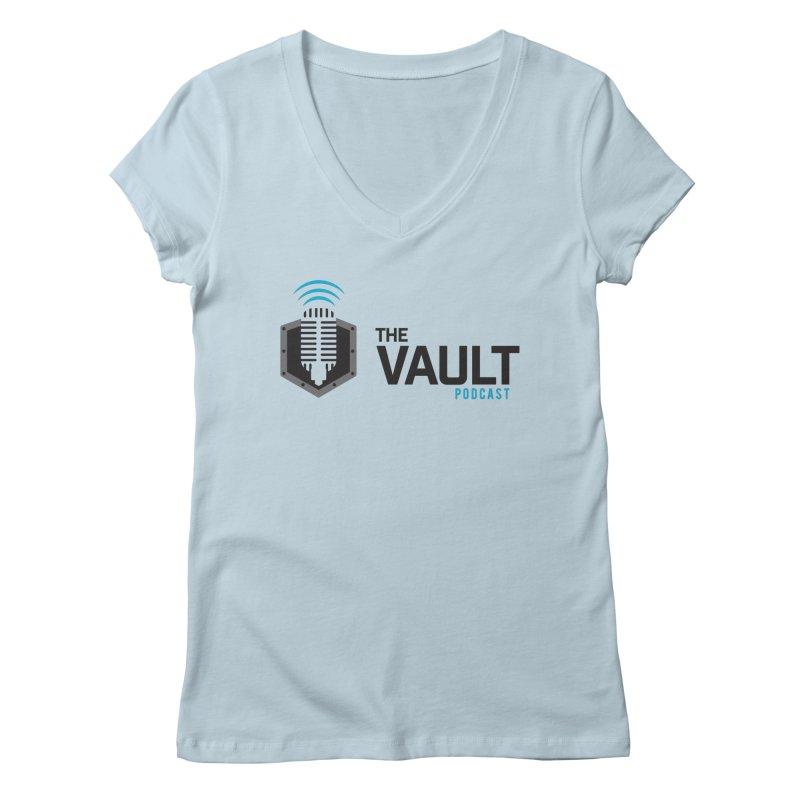 The Vault Podcast in Women's Regular V-Neck Baby Blue by RevolutionTradingCo