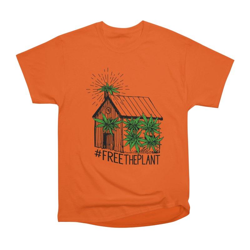 #FreeThePlant in Men's Heavyweight T-Shirt Orange Poppy by RevolutionTradingCo