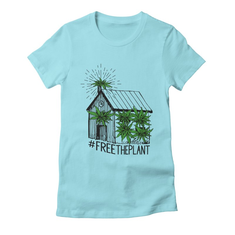 #FreeThePlant in Women's Fitted T-Shirt Cancun by RevolutionTradingCo