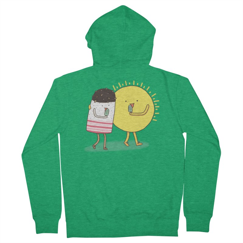 CHILLING WITH THE SUN Men's French Terry Zip-Up Hoody by RiLi's Artist Shop