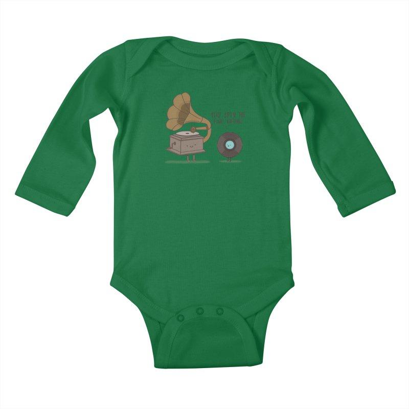 HEAD SPINNING LOVE  Kids Baby Longsleeve Bodysuit by RiLi's Artist Shop