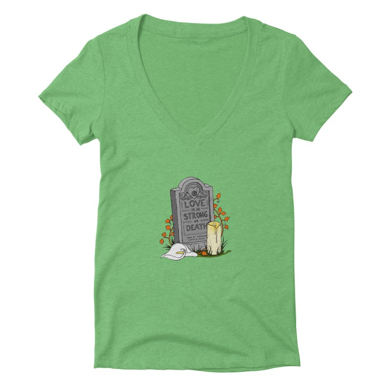 Love is Strong as Death Women's Deep V-Neck V-Neck by RichRogersArt
