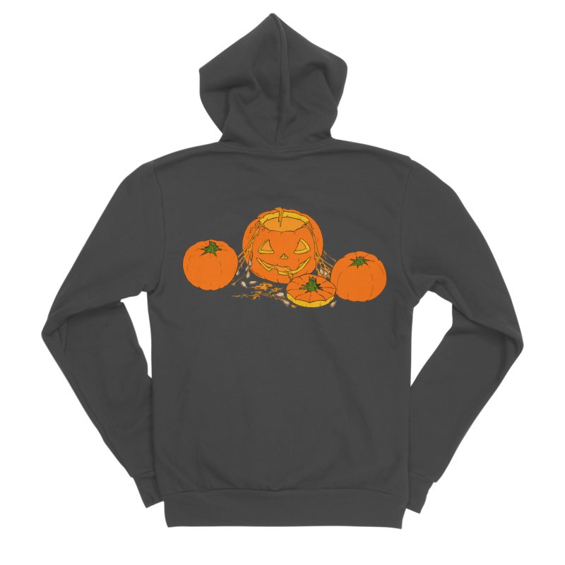 Pumpkin Guts Men's Sponge Fleece Zip-Up Hoody by RichRogersArt
