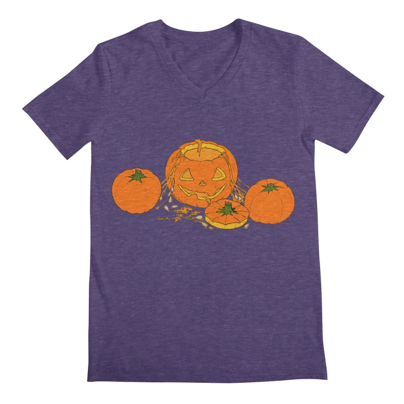 Pumpkin Guts Men's Regular V-Neck by RichRogersArt