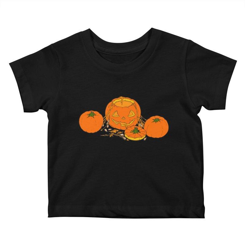 Pumpkin Guts Kids Baby T-Shirt by RichRogersArt