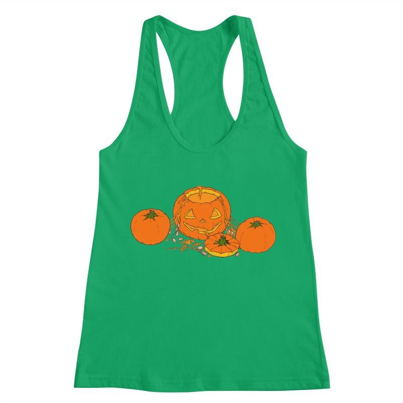 Pumpkin Guts Women's Racerback Tank by RichRogersArt