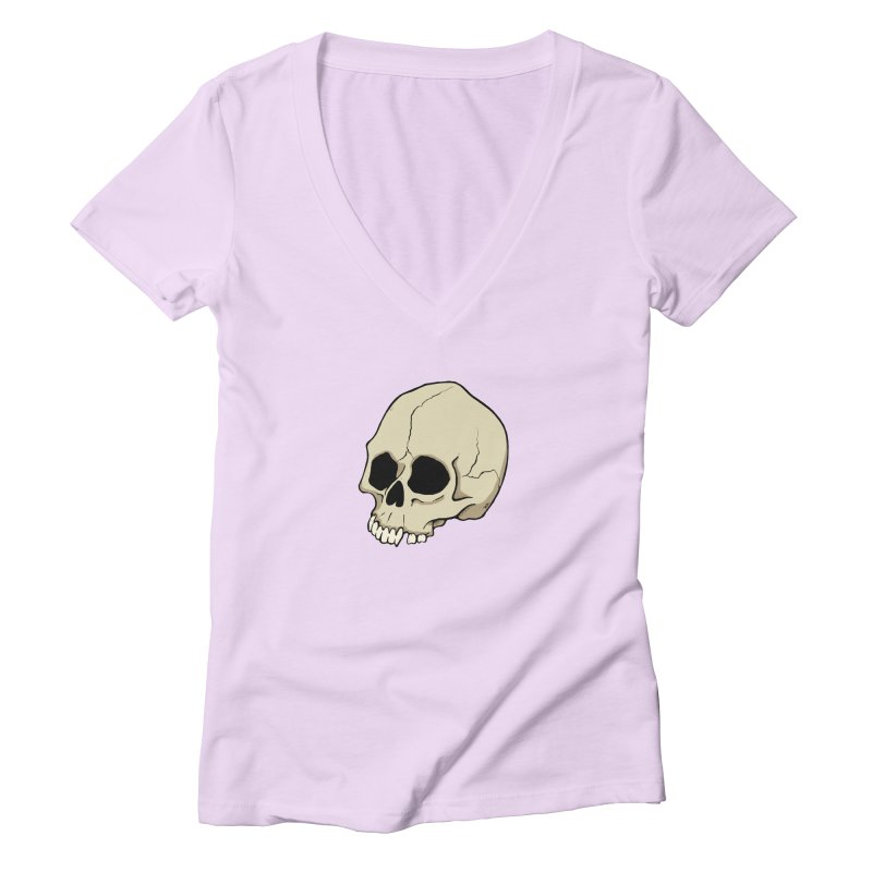 Skull Women's Deep V-Neck V-Neck by RichRogersArt