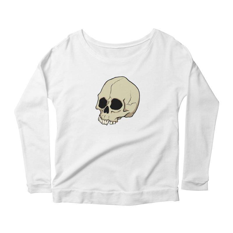 Skull Women's Scoop Neck Longsleeve T-Shirt by RichRogersArt