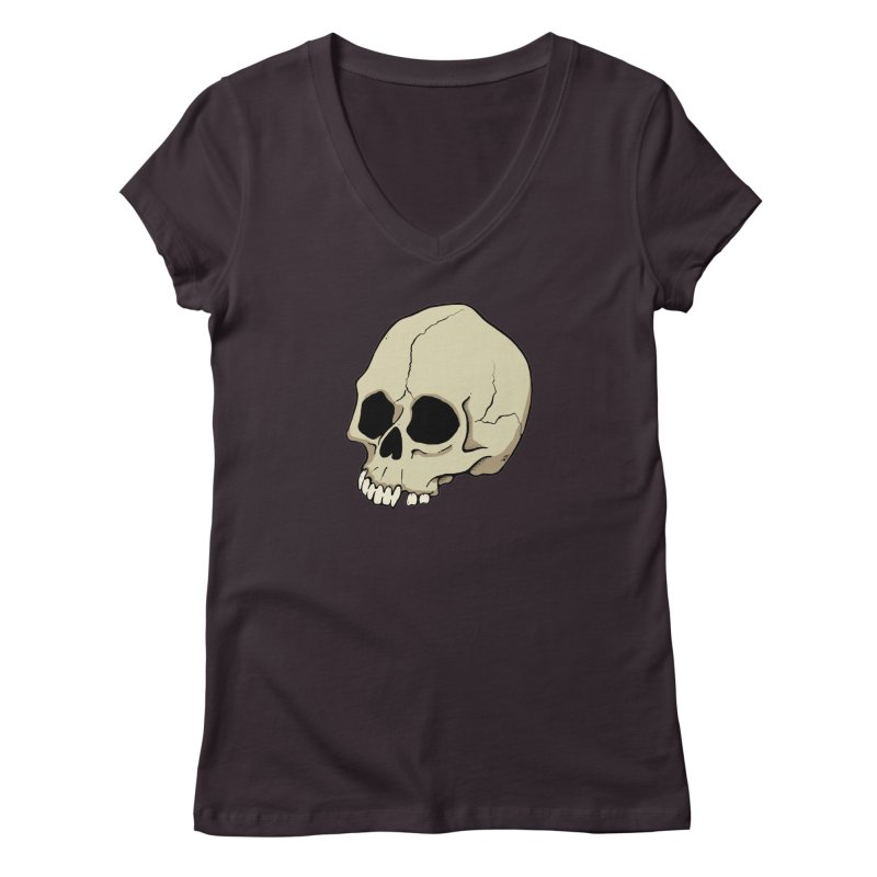 Skull Women's Regular V-Neck by RichRogersArt