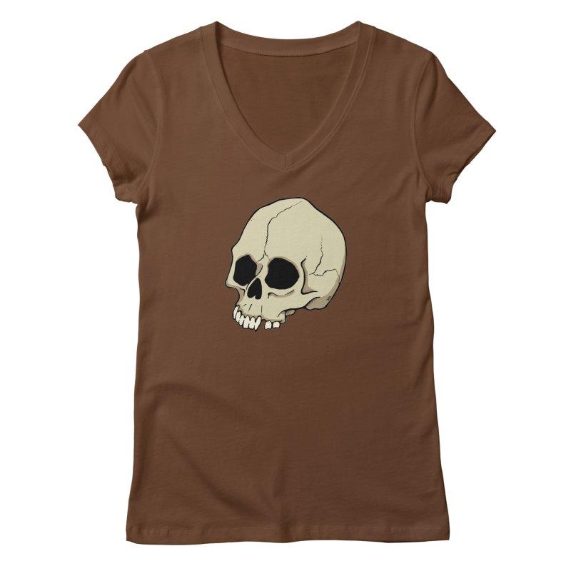 Skull Women's Regular V-Neck by RichRogersArt